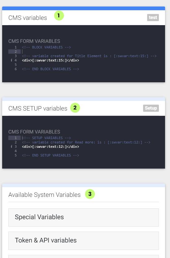 CMSvariables